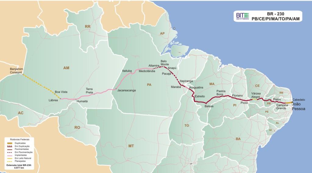 Transamazônica e estado mapa